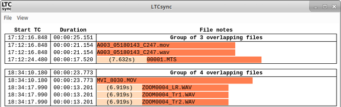 LTCsync finds files with overlapping timestamps and lines them up on a timeline