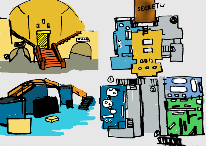 some sketches of museum (layout draft on the right)
