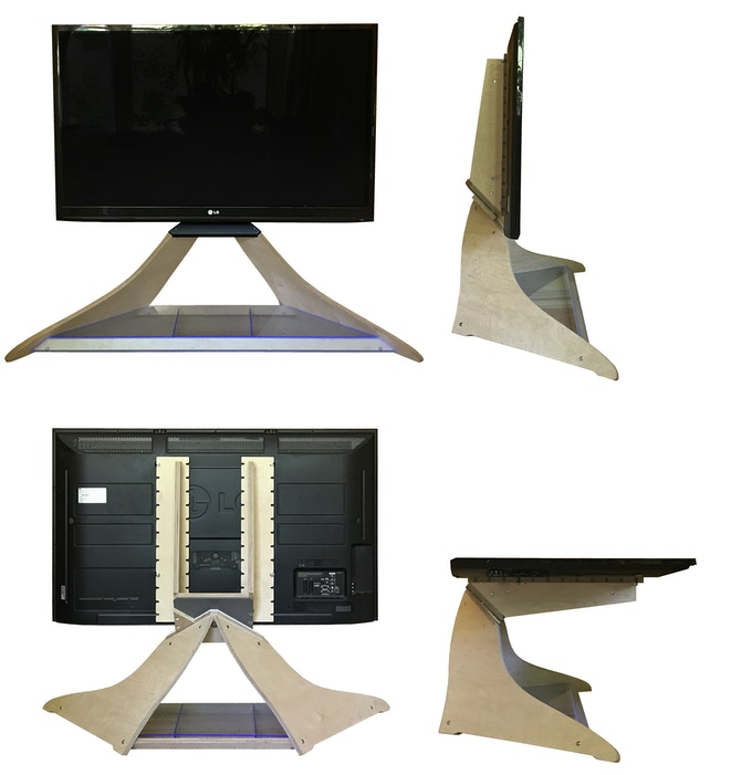 The strip with two bolts on under the TV is plain black as shown in picture (as opposed to white as shown in the video)