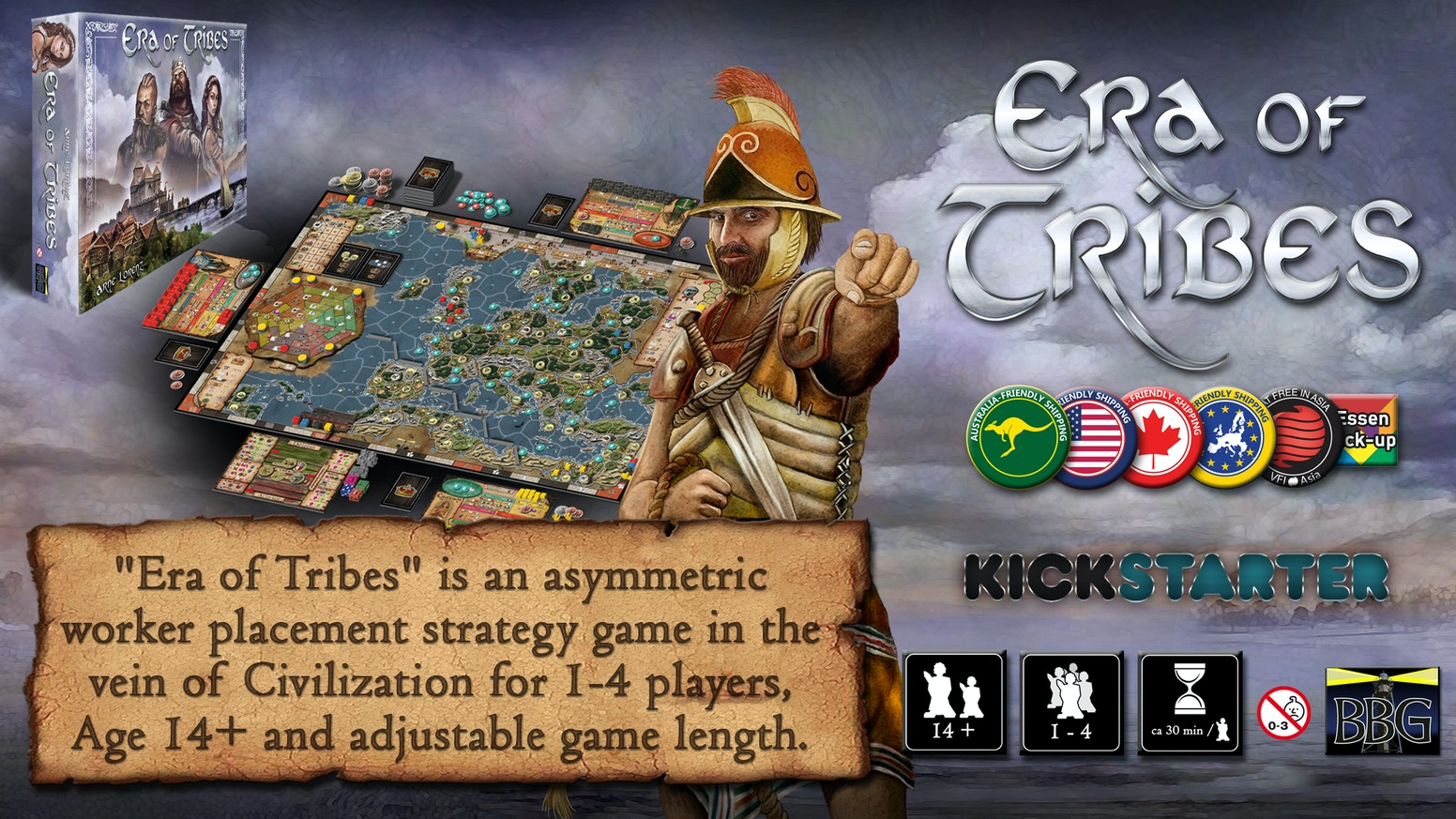 A new asymmetric 4 X worker placement strategy game about Civilizations for 1-4 players (14+ years). Develop, Expand, Discover & Interact!
