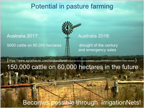 Potential in der Weidewirtschaft durch sehr großflächige Bewässerung mit Morgentau