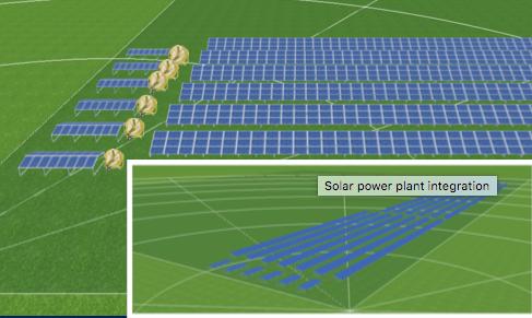 Links Kühlanlagen incl. Eigenstromversorgung, rechts altes Solarkraftwerk mit hoher Einspeisevergütung