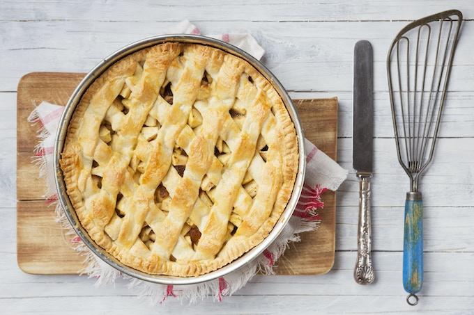 Vanilla infused apple-raspberry pie.