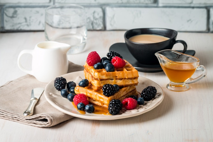 Waffles with vanilla syrup? Sign us up!