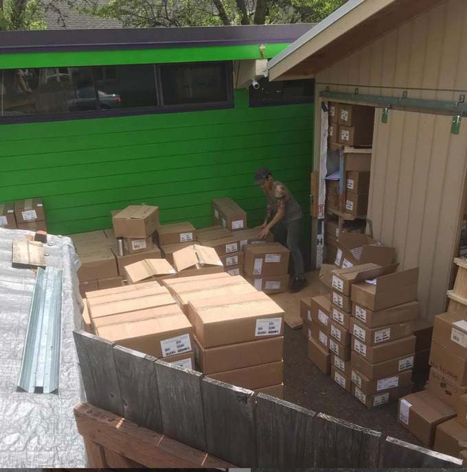 The day we got 11 pallets of books delivered to our building.