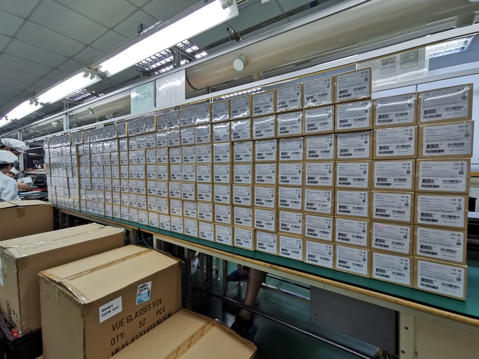 Packaged units piling up at the end of the line