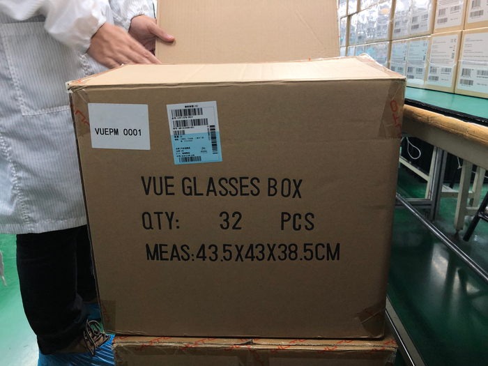 Mailer boxes being delivered to the line for the finished Vue packages