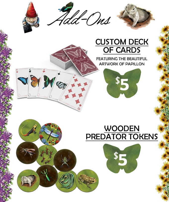 You can upgrade your deluxe pledge with Wooden Predator Tokens and this fancy deck of cards to your pledge by increasing your pledge amount by $5 each!