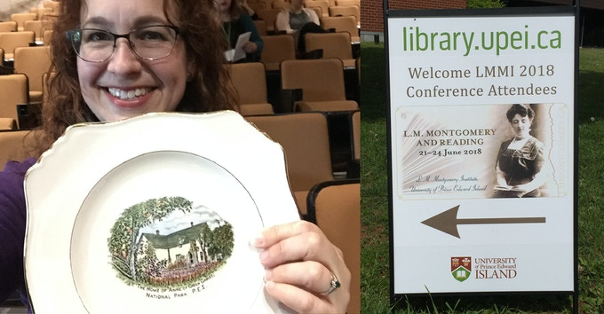 Winning a vintage plate in the charity auction at the L.M. Montgomery Institute Conference!