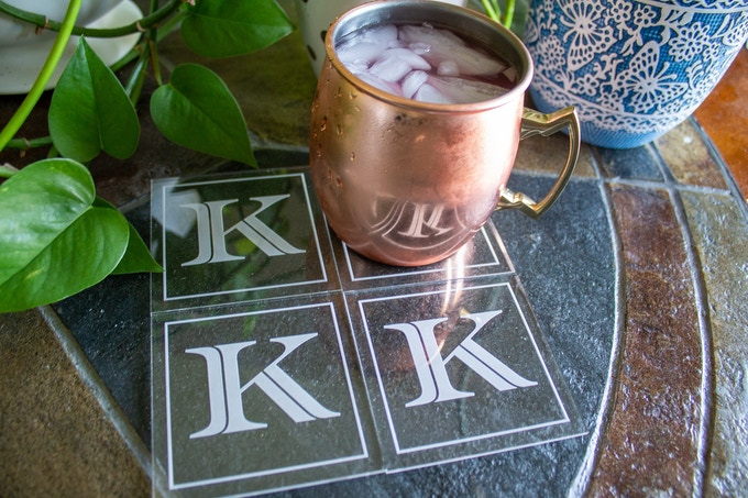 Square Coasters with Bold Initial