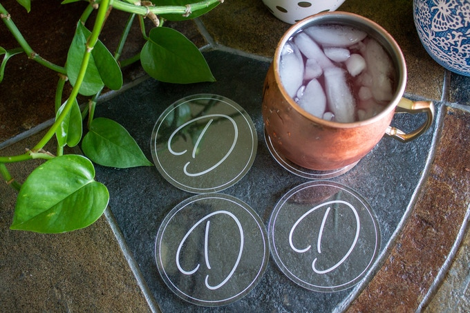 Circle Coasters with Script Initial