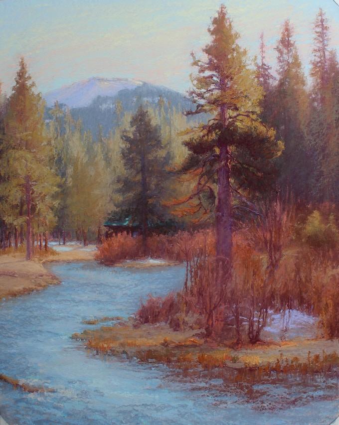 """Magic Moment, Metolius River"" ""20X16"" Original Pastel Painting featured on P. 27 in ""Land Escapes"""
