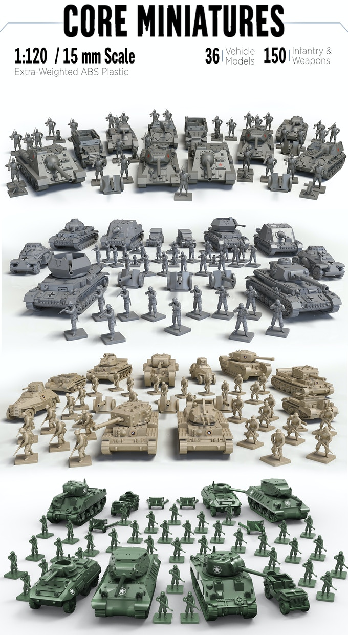 These contents may be increased from stretch goals! They are also subject to change and approval by SEGA.  These models are also shown with the decals we hope to unlock mid campaign. Note the AT guns, mortars and MG models are still draft versions and will be improved.