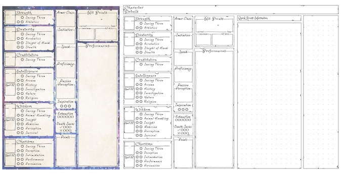 Side by Side of the Character Stats Page from the the booklet (left) and the DIY Printable PDF Character info sheet (right) for comparison.
