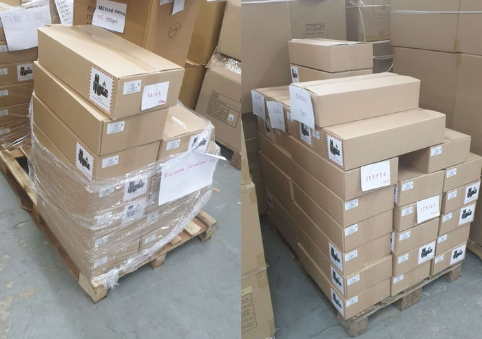 Pallets of PrintBrush XDR master cartons at the fulfillment center prior to Pick & Pack
