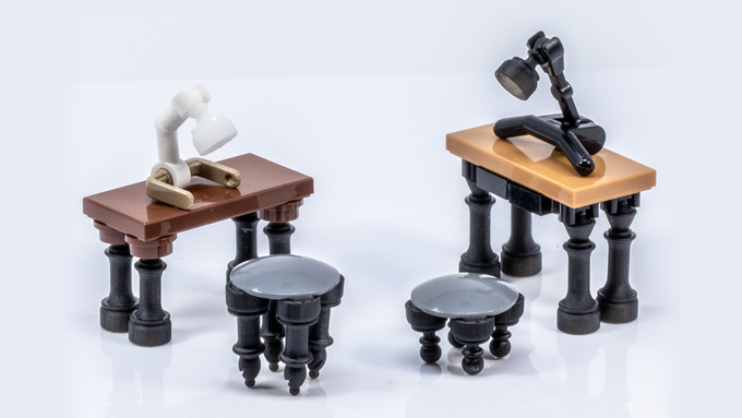 Brick Mini Chess Pieces are great for interior details! Kings, Queens, Bishops and Pawns are all equally useful as furniture legs. *Photo is of prototypes only - final product will be injection molded ABS in color-matched colors with a polished finish.*