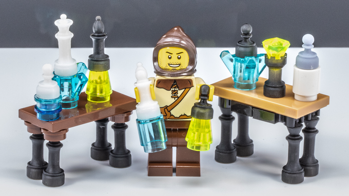 Brick Mini Chess Pieces are great for accessories like these potion bottles! *Photo is of prototypes only - final product will be injection molded ABS in color-matched colors with a polished finish.*