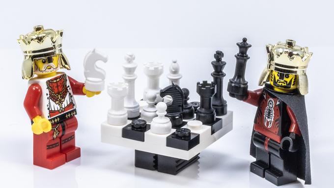 Brick Mini Chess is the perfect scale for your miniature figures. *Photo is of painted prototypes only which may show blemishes from 3D printing such as the resolution lines on the Knight figures. The final product will be injection molded ABS in color-matched colors with a polished finish.*