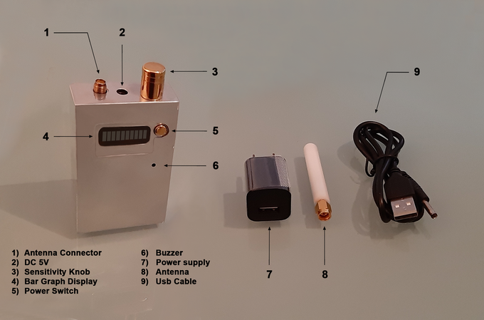 It is powered by a lithium battery, rechargeable through the network or the computer; the kit includes the antenna, a network transformer and USB cable.