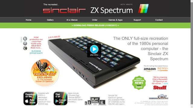 The Official Recreated ZX Spectrum website.