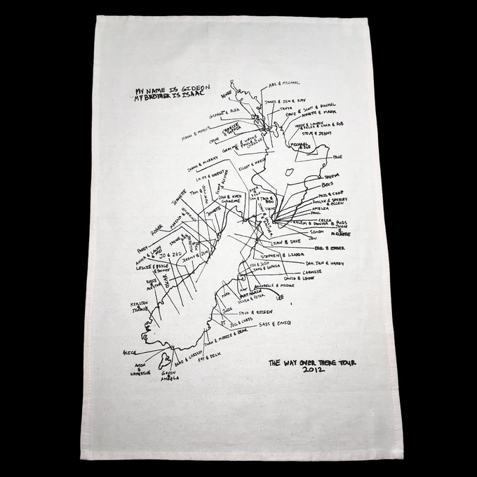 New Zealand tour tea towel with hosts names