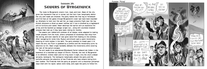 An example spread showing the summary for Session 39 and accompanying comic.