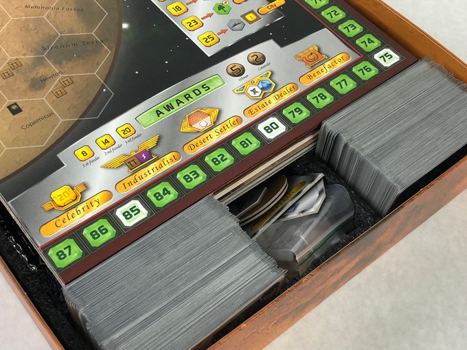 Base Game Board and Venus Next Game Board can be stacked comfortably in the Terraforming Mars Insert