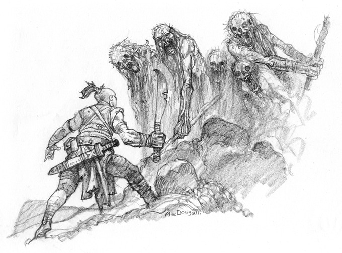 An adventurer faces off against some cadaver men