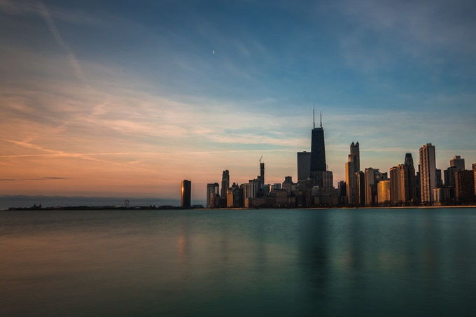 Sunrise Chicago (metal print, 8x12)