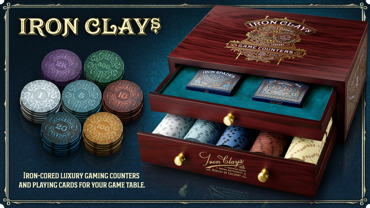 Luxury tabletop game counters with elegant storage container & beautifully designed playing cards in letter pressed box.