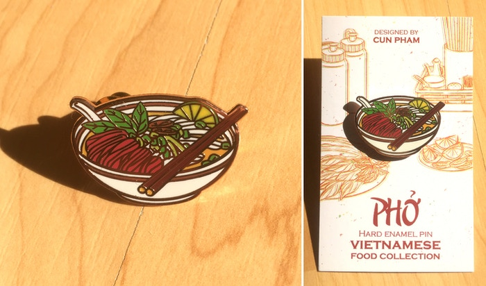 Vietnamese Food Enamel Pins by Cun Pham » The pins are