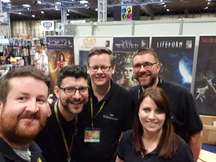 The HoN Team for the weekend: big thanks to legends Leki and Sam for manning the booth with us, to wunderkind game designer Mark Chaplin for demoing Lifeform to the masses, and of course to the amazing Francesca for being the Hall to my Nothing!