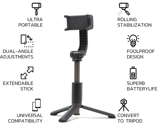 IMMO: Most Compact 2-in-1 Stabilizer Selfie Stick Capture steady shots | Support most popular smartphones | Bluetooth connection | Foolproof single button operation | Affordable