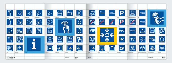 Foldout sheet: the Barcelona '92 info pictograms.