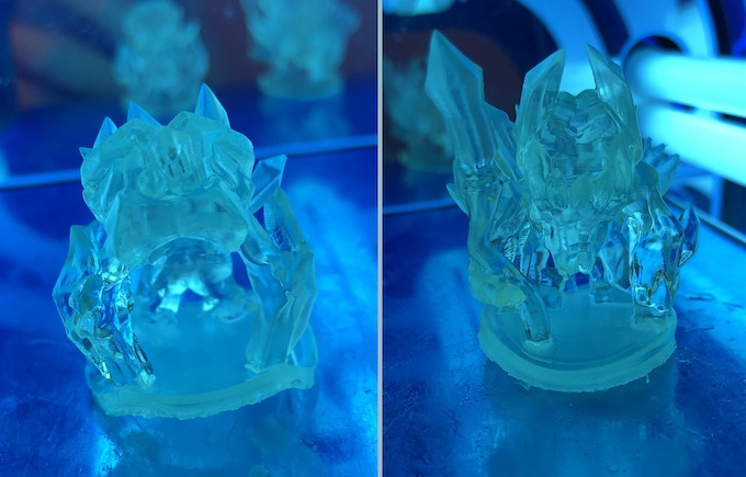 (A slightly floppy) Ice Beast 1 and Ice Beast 2 printed in clear resin, giving a super cool melted icy look to the models! Huge thanks to u/Boba_Fettish_ for sending these in!