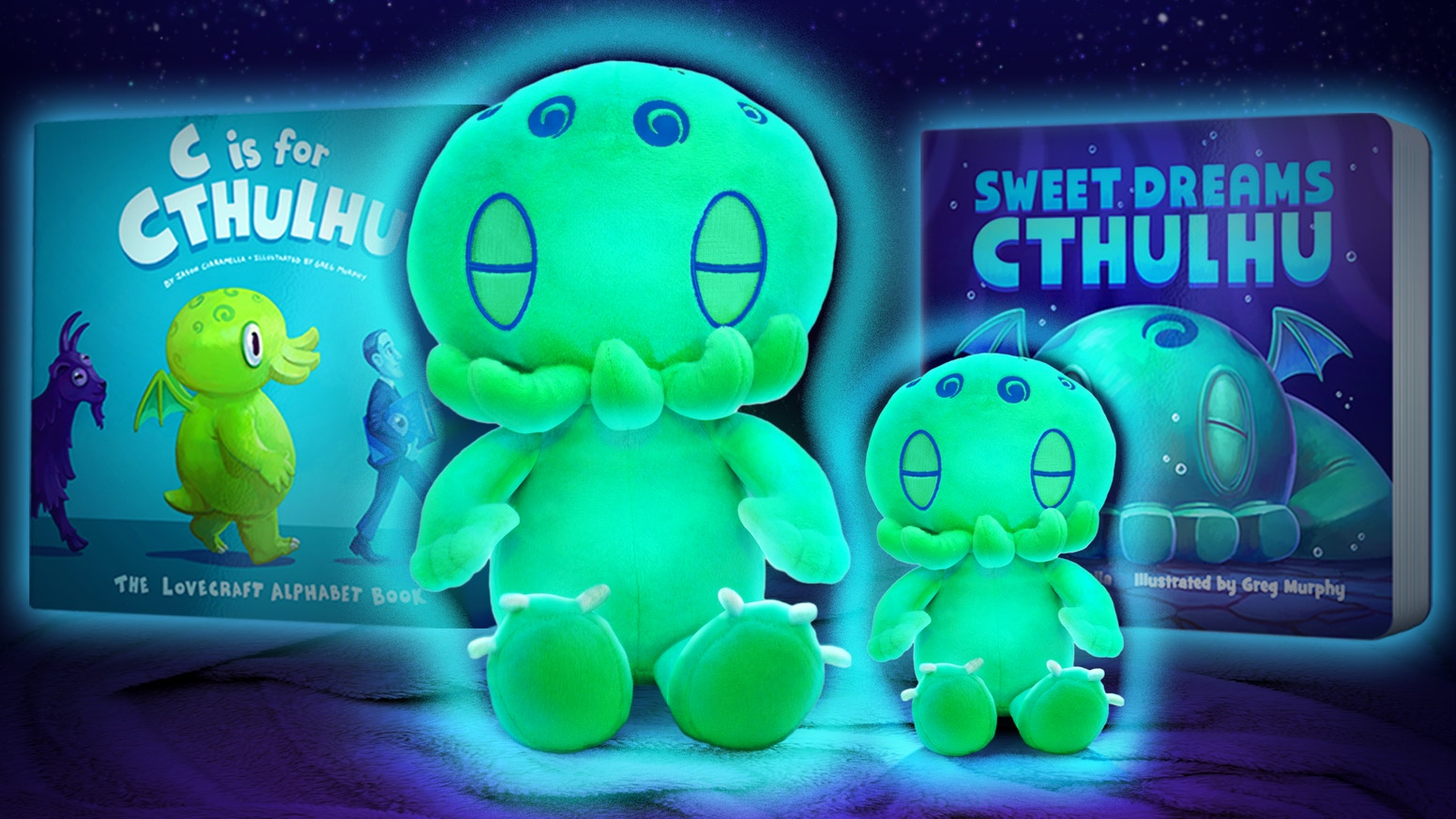 Finally, cute and cuddly Cthulhu plush toys that GLOW IN THE DARK! Snuggle up while you read our Lovecraft-inspired children's books!