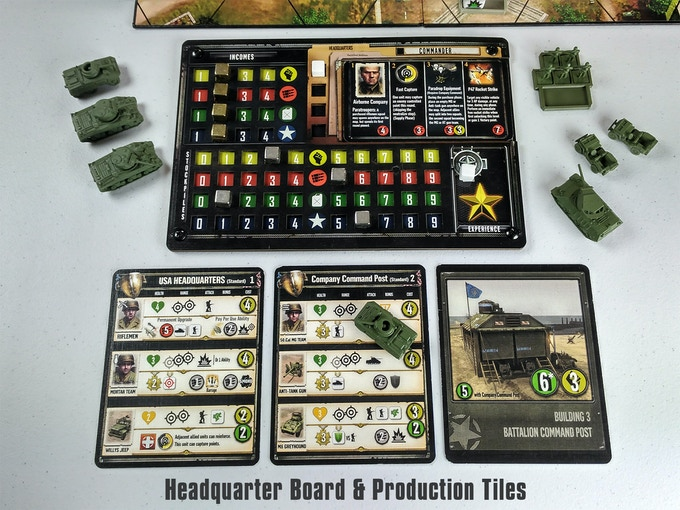 A third of the game revolves around your HQ board and production tiles. This is where you spend resources to unlock buildings, purchase new units and upgrades, as well build up experience and Commander levels.