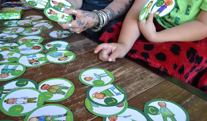 Uppercase and Lowercase letters are color-coded for ease of separating into a smaller 26-card deck, especially helpful for younger children