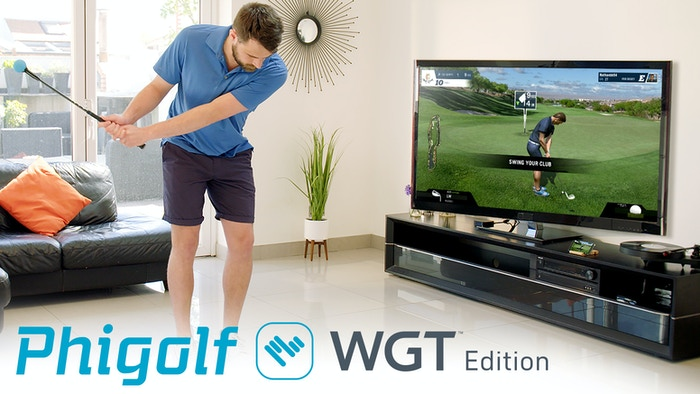 Now you can own an affordable home golf game simulator. Be amazed as the avatar mirrors your swing and play on world-famous golf courses on WGT or practice your game on Phigolf.This Kickstarter campaign has now finished, and it is available to buy.
