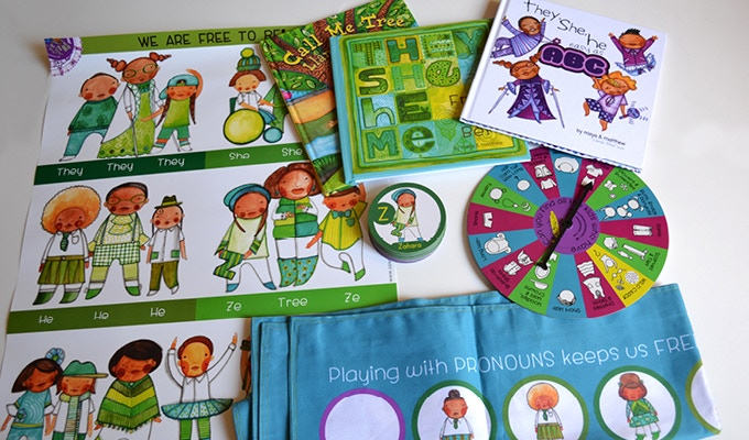 Be the first to play with the FULL Set and complement your card deck with 3 hardcover children's books exploring pronouns, a playmat, pronoun poster, game spinner and a canvas bag to hold it all.