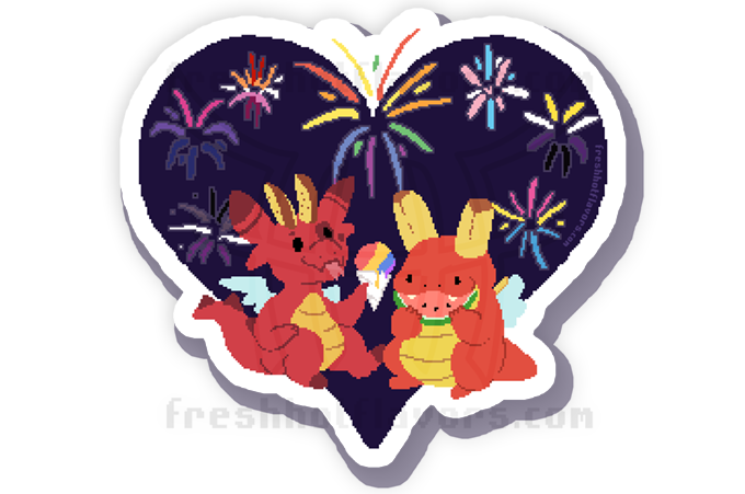 Art not quite final - more fireworks will be added as identities after Lesbian are unlocked! Watermark will not appear on final product.