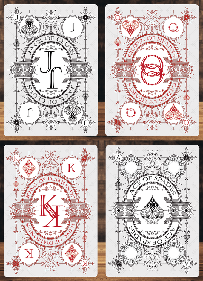 Card samples for the 'Private Reserve White Decks (These decks are available in this Kickstarter).