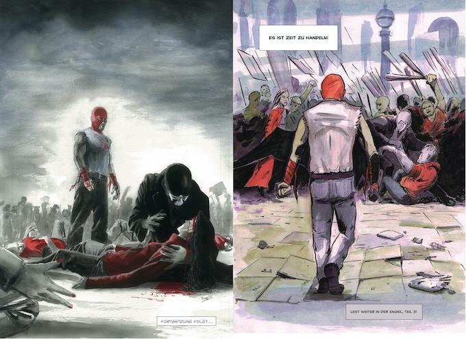 Cestus, links das Artwork von Tomppa, rechts von Matt Fynch