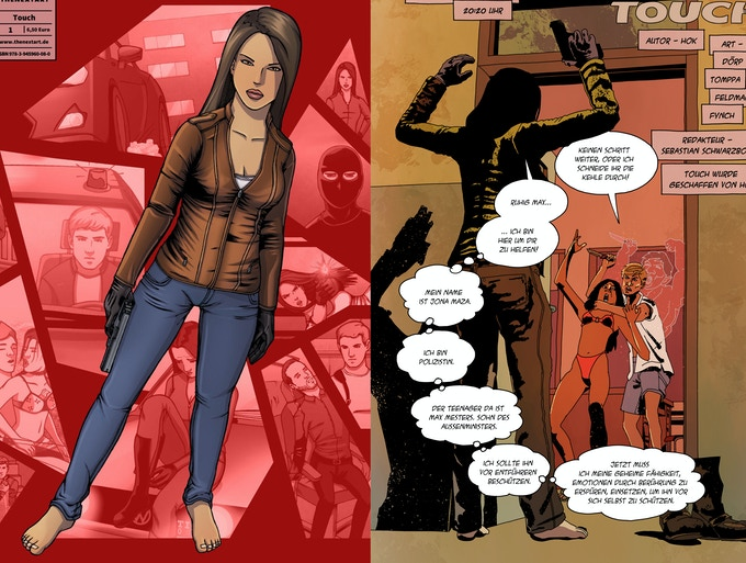Jona Maza, links gezeichnet von HOK, rechts von Sascha Dörp