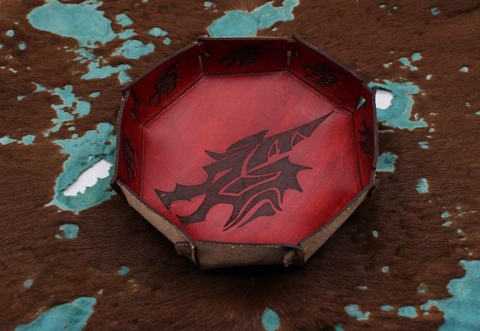 Leather Dragon Dice Bowl - Artwork By: DaSueDragon