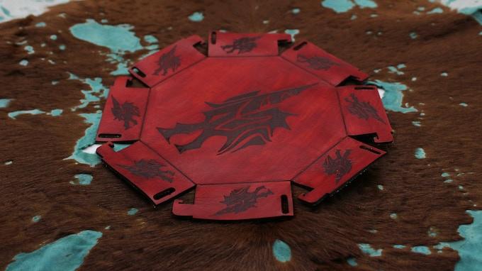 Leather Dragon Dice Bowl - Flat - Artwork By: DaSueDragon