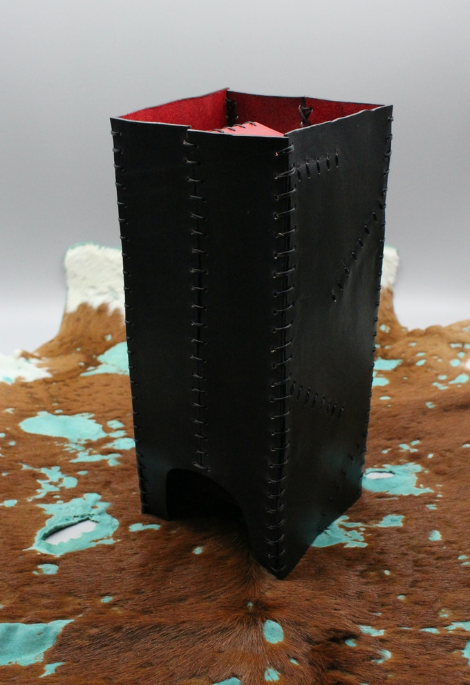 Leather Folding Dice Tower - Plain, Two-Colored