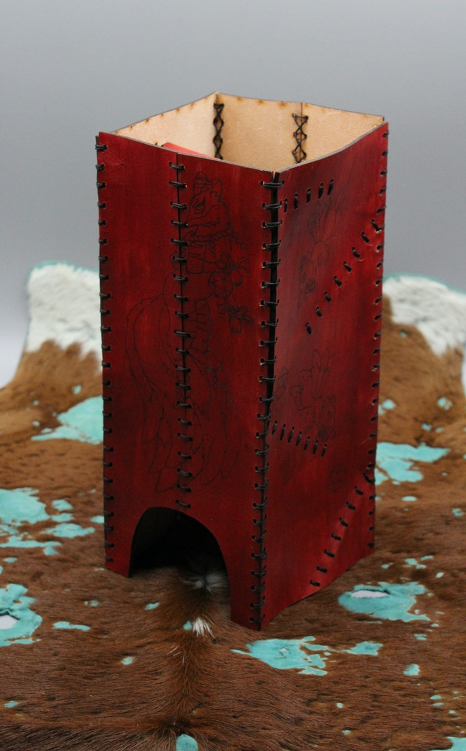 Leather Folding Dice Tower - Lasered - Artwork By: Sam Maron