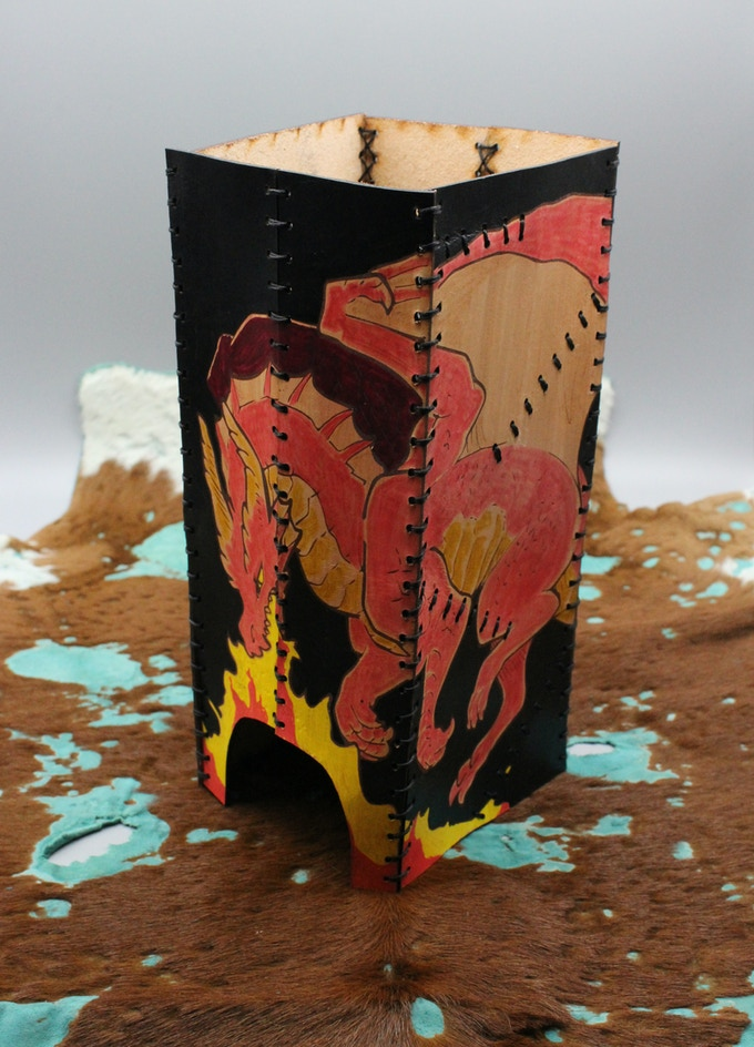 Leather Folding Dice Tower - Colored - Artwork By: Maim