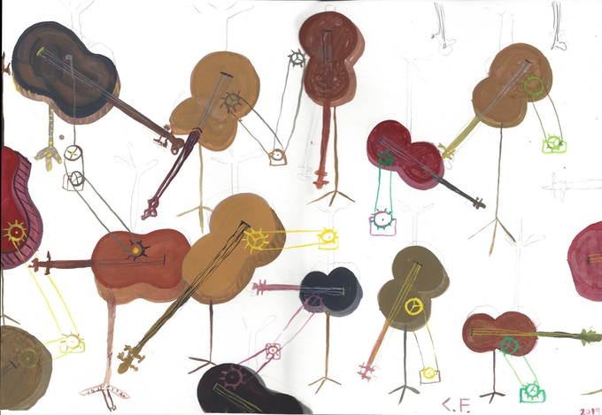 """This is my gouache study for """"SOUNDTRACK."""".  It is 11"""" x 16""""(28cm x 40cm).   Printed on heavy card stock and signed."""
